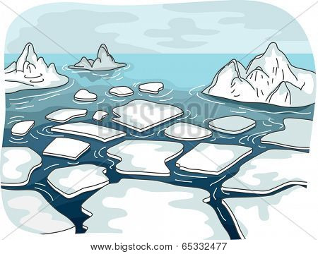 Illustration Featuring Melted Glaciers Drifting in the Middle of the Sea