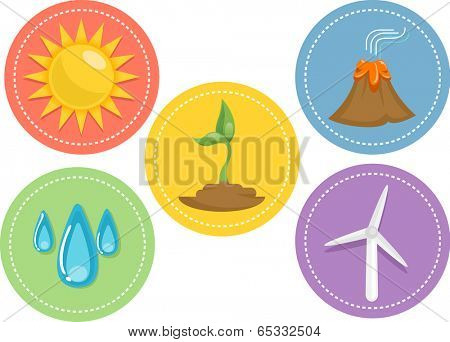 Icon Illustration Featuring Different Sources of Renewable Energy