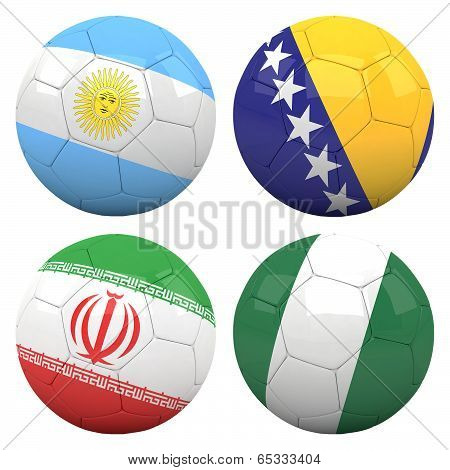 3D Soccer Balls With Group F Teams Flags