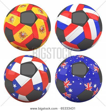 3D Soccer Balls With Group B Teams Flags