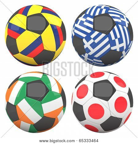 3D Soccer Balls With Group C Teams Flags