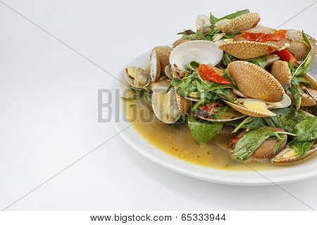 Thai food, surf clam stir with chili paste and herb