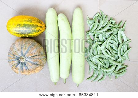 4 set of vegetables freshly plucked from kitchen garden