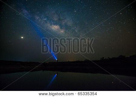Milky Way Over Sampanbok,grandcanyon Of Thailand.
