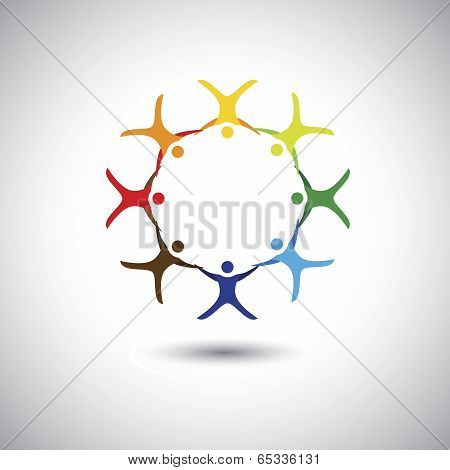 Colorful People Together As Circle Of Unity, Integrity - Concept Vector