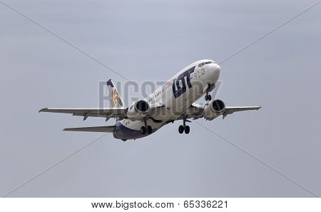 Departing LOT Charters Airlines Boeing 737-45D aircraft