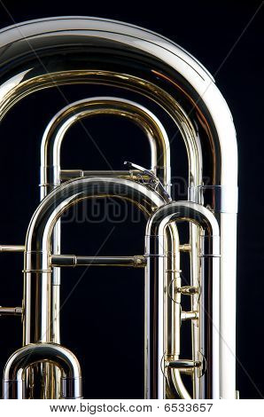 Bass Tuba Euphonium Isolated On Black