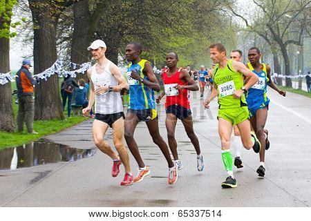 Krakow, Poland - April 28 : Cracovia Marathon. Andrzej Lachowski And Zdravko Milovic And Other Runne