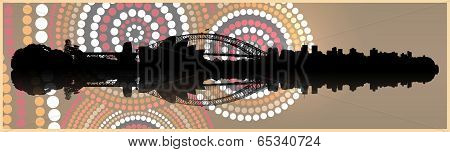 Sydney skyline in Aboriginal art  background