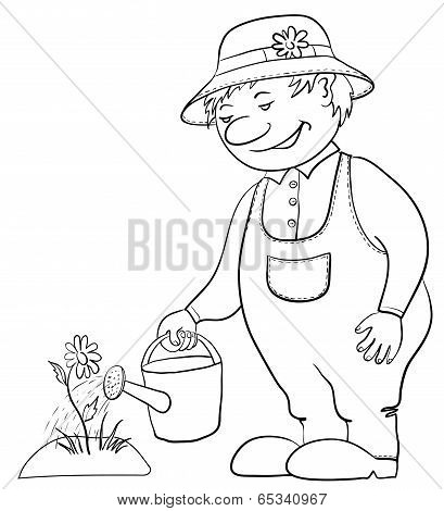 Gardener waters a flower, contour