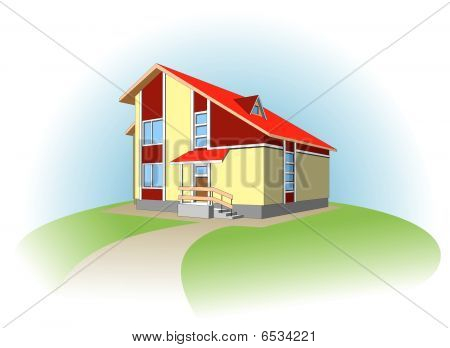 Dwelling house. Vector.