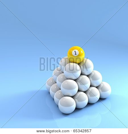 Number One ball on top of a pyramid of white pool balls