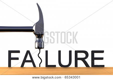 Conceptual image spelling the word failure with a bent nail
