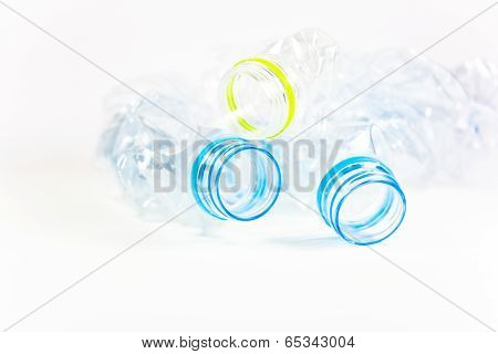 Smashed Plastic Water Bottle Isolated