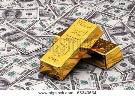 Two gold bullions on hundred Dollar bills