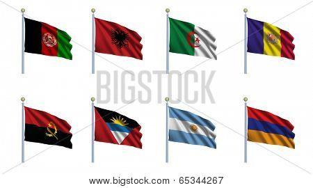 World flag set 01 - Afghanistan, Albania, Algeria, Andorra, Angola, Antigua and Barbuda, Argentina and Armenia