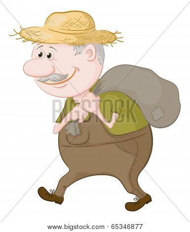 Man carries a sack