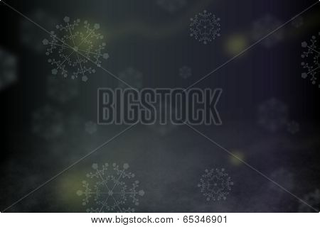 Abstract blurry background with snowflakes, fireflies, and fog