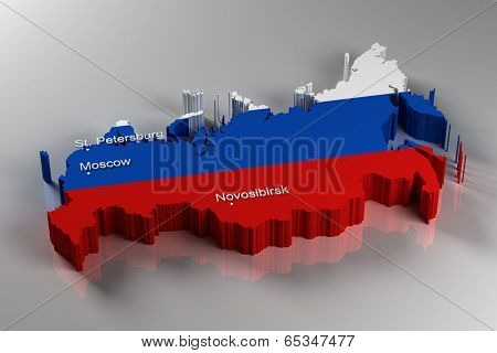 3D Map of Russia with the three most important cities