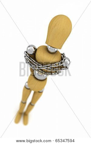Wooden mannequin trapped in metal chains over white background