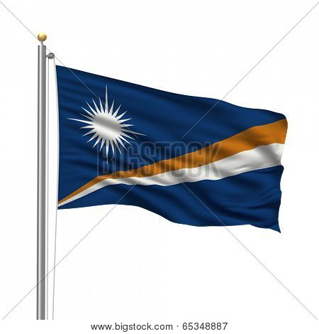 Flag of the Marshall Islands with flag pole waving in the wind over white background
