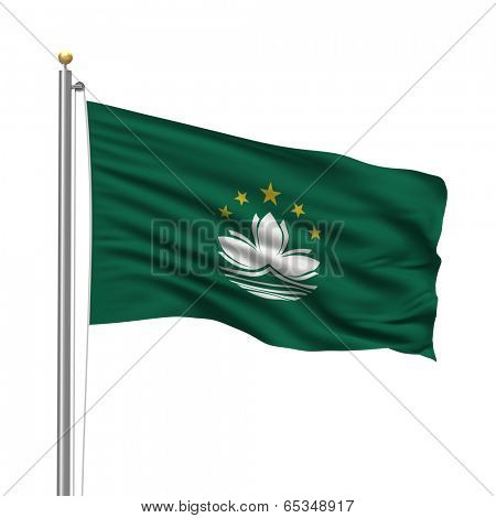 Flag of Macau with flag pole waving in the wind over white background