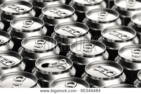 One opened soda can amongst many unopened ones