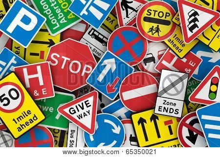 Chaotic collection of traffic signs from the United Kingdom
