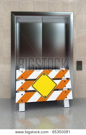 Broken elevator concept with construction barrier and blank sign