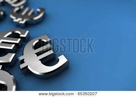 Euro concept with silver dollar symbols over blue background