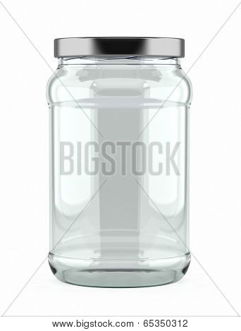 Empty glass jar with aluminum lid over white background