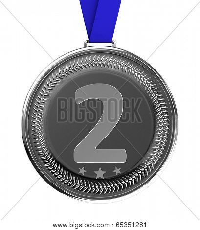 Isolated silver medal over white background with clipping path