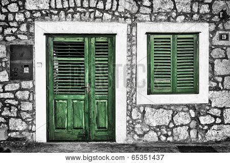 Decrepit Green Door And Window On The Dalmatian House In Croatia