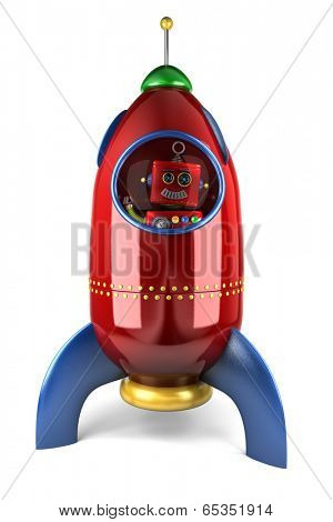 Happy vintage toy robot waving from inside a toy rocket over white background