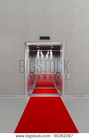 Business lobby with open elevator with red carpet