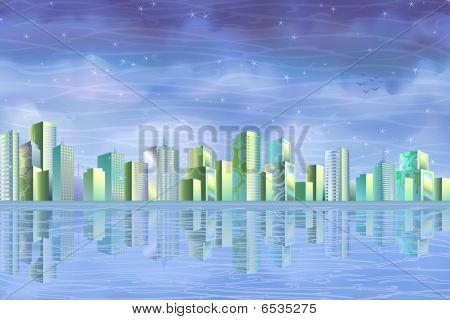 Eco city reflecting in water