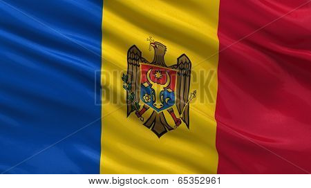 Flag of Moldova waving in the wind