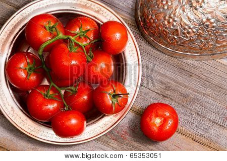 Farm Fresh Tomatoes In A Copper Dish