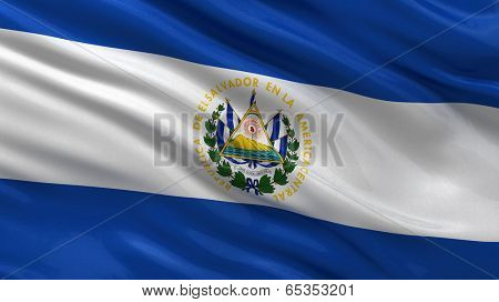 Flag of El Salvador waving in the wind