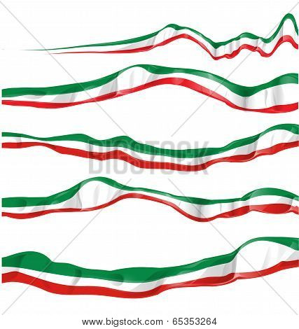 Italian and mexican Flag Set Isolated