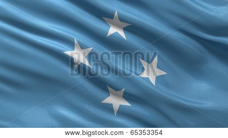 Flag of Micronesia waving in the wind