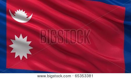 Flag of Nepal waving in the wind