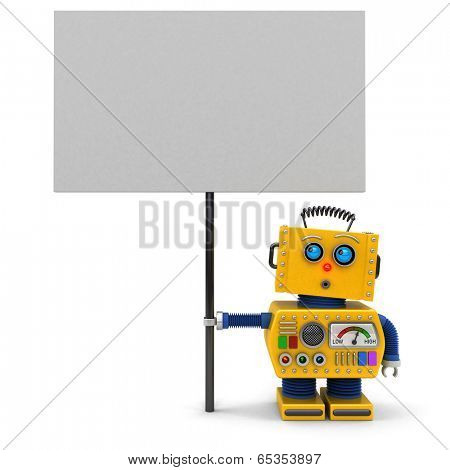 Cute toy robot holding a big sign looking upwards over white background