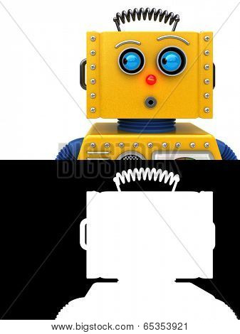 Toy robot looking to the left. Image can be flipped for opposite look including alpha map for easy isolation