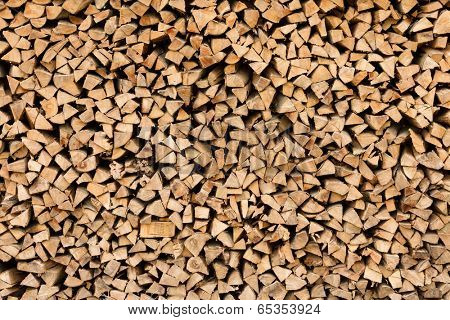 Industrial size pile of split beech wood logs
