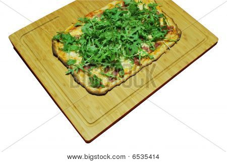 3-cheese Pizza With Prosciutto And Arugula (homemade)