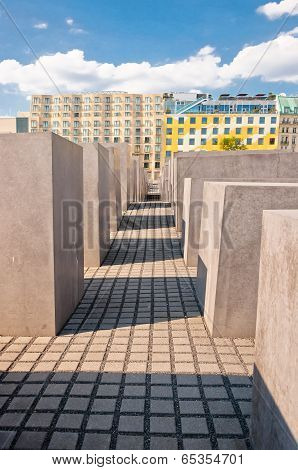 The Holocaust Memorial and modern buildings in Berlin