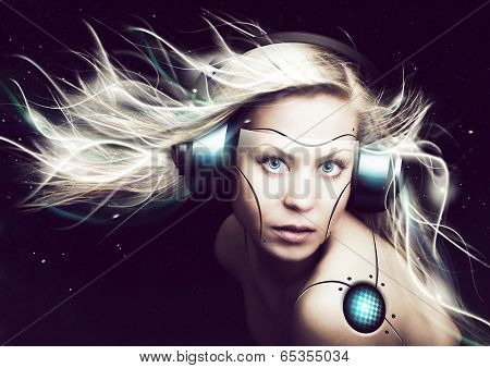 Cyborg Woman Over Dark Background
