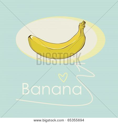 banana yellow oval frame with an inscription, vector background
