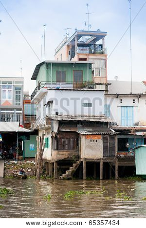 Jan 28 2014 - My Tho, Vietnam - Houses By A River, On Jan  28, 2014, In  Mekong Delta, Vietnam